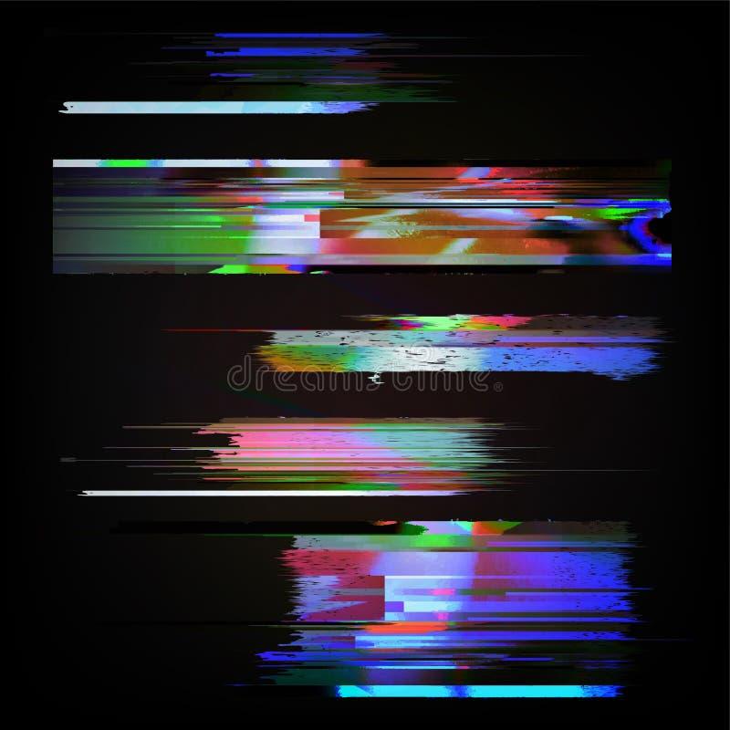 Ilustración común del vector Plantillas del error de la pantalla de ordenador del estilo de la interferencia Diseño del extracto  stock de ilustración