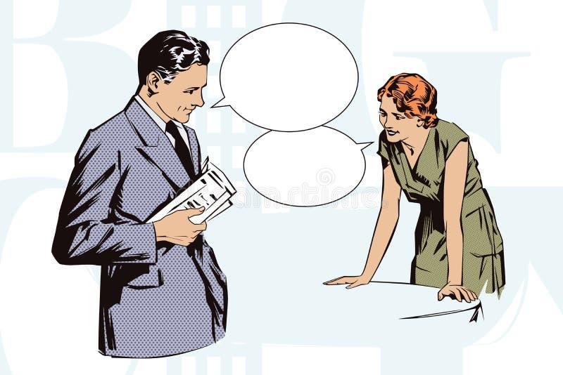 Ilustración común Gente en arte pop del estilo y la publicidad retros del vintage Cafés del cliente que hablan con la camarera stock de ilustración