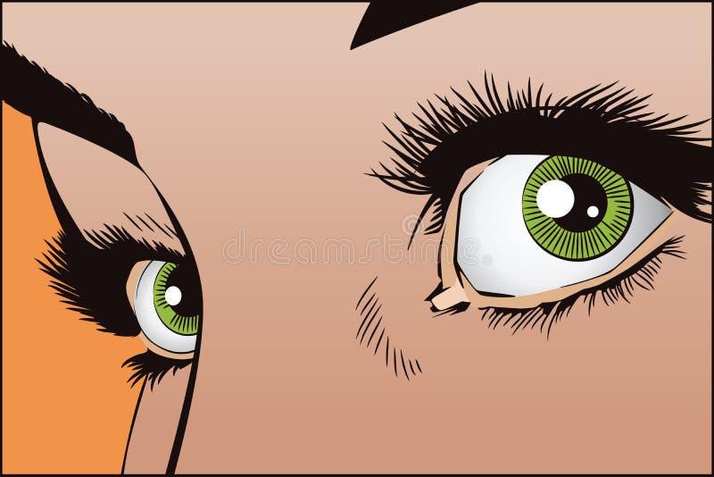 Ilustración común Gente en arte pop del estilo y la publicidad retros del vintage Ojos de la muchacha ilustración del vector