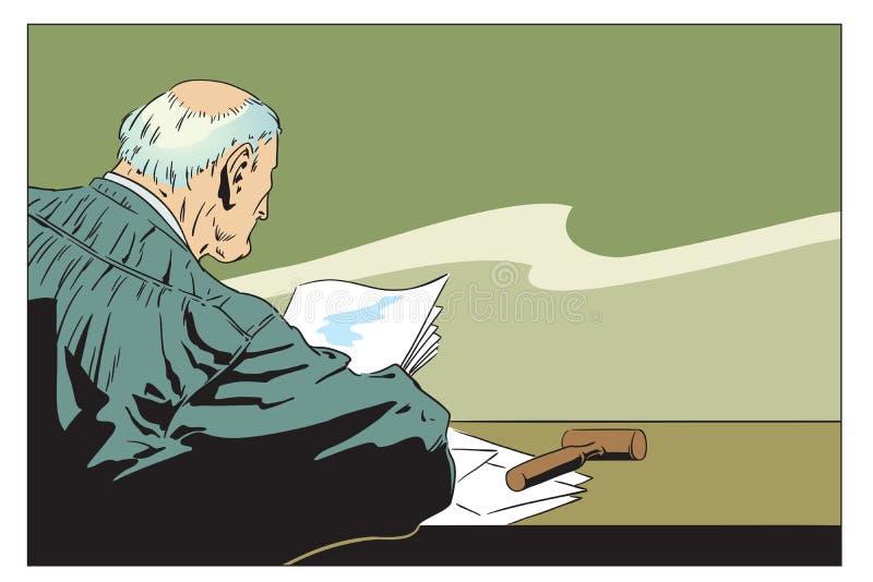 Ilustración común Juez In Courtroom ilustración del vector