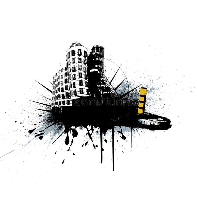 Ilustración con la ciudad. Vector ilustración del vector