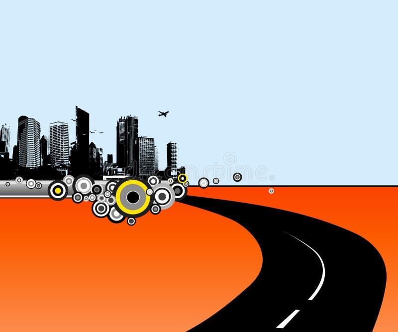 Ilustración con la ciudad y el camino. ilustración del vector