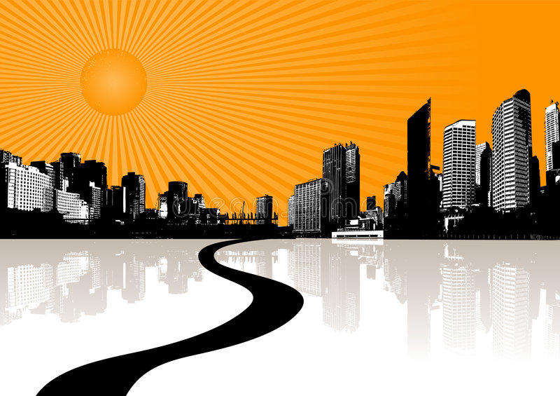 Ilustración con la ciudad y el sol. libre illustration