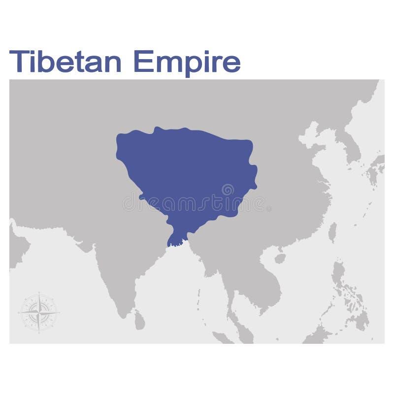 ilustración con mapa del Imperio Tibetano stock de ilustración