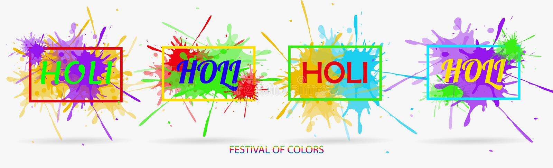 Ilustración creativa del vector Nube coloreada de la pintura Festival indio de los colores Holi feliz Elementos del dibujo para d stock de ilustración