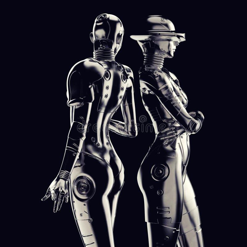 ilustración 3D Cyborg elegante la mujer ilustración del vector