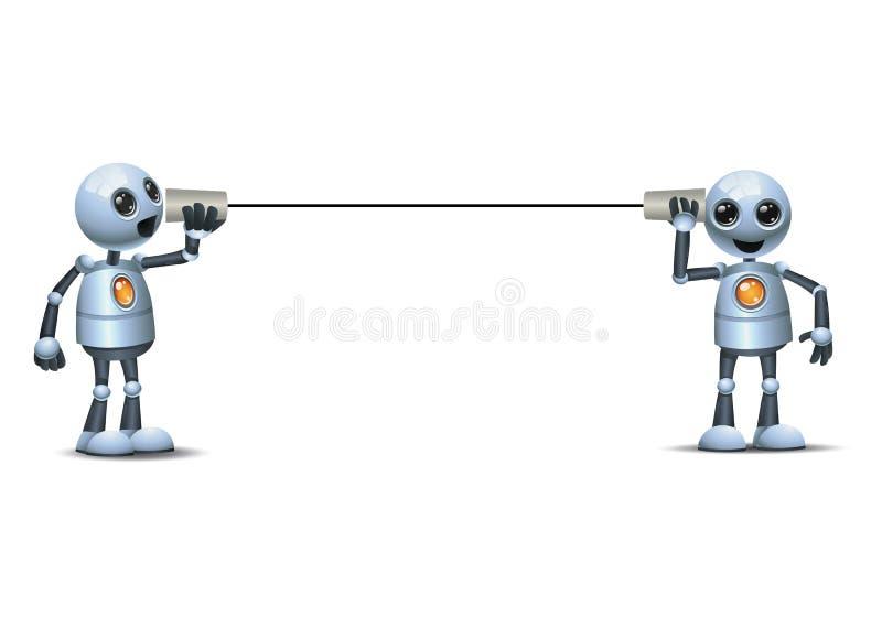 Ilustración 3d de dos pequeños robots que hacen comunicación comercial con un teléfono de taza de papel libre illustration