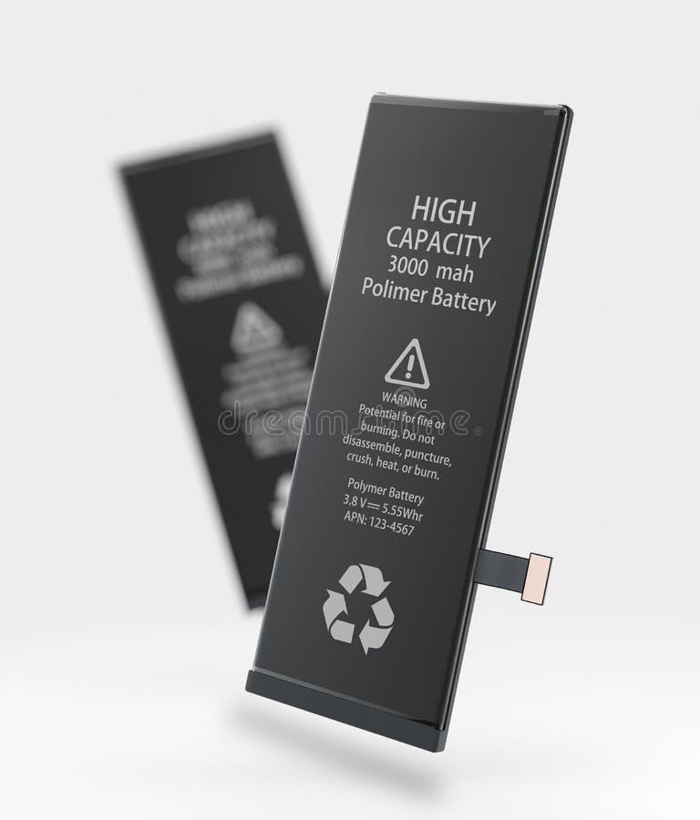 Ilustración 3d de la batería recargable de teléfono móvil. sobre fondo azul libre illustration