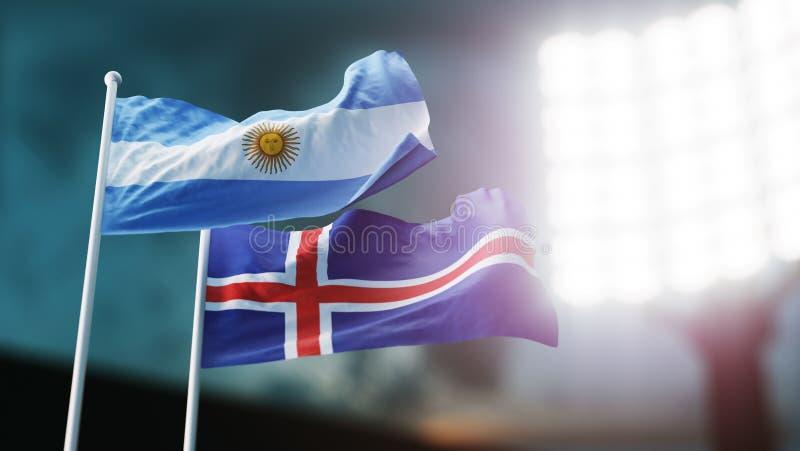 ilustración 3D Dos banderas nacionales que agitan en el viento Estadio de la noche Campeonato 2018 Fútbol La Argentina contra Isl ilustración del vector