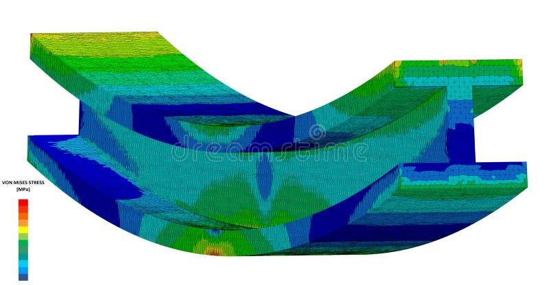 ilustración 3D Ejemplo isométrico de un diagrama de la tensión de Von Mises para un Yo-haz en el doblez con la escala ilustración del vector