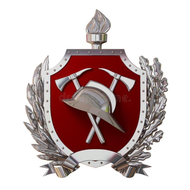 ilustración 3D Insignia del bombero Casco antiguo de plata, hachas, escudo rojo, rama de olivo, rama del roble, cinta Aislado libre illustration