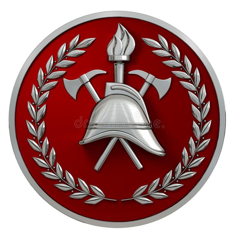 ilustración 3D Insignia del bombero Casco de plata del vintage, hachas, antorcha, ramas de olivo en una medalla roja Aislado ilustración del vector