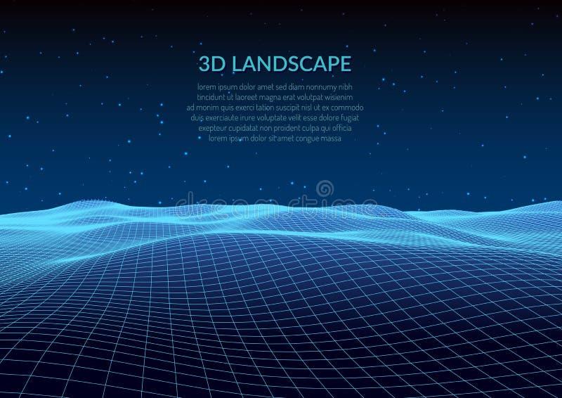 ilustración 3D Paisaje abstracto en un fondo blanco Rejilla del ciberespacio stock de ilustración