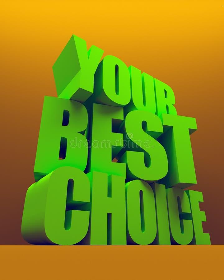 ilustración 3D Sus mejores palabras bien escogidas en fondo del color Diseño épico moderno del cartel stock de ilustración