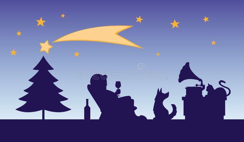 Ilustración de caricaturas navideñas - hombre con una copa de vino en una silla escucha música de un fonógrafo stock de ilustración