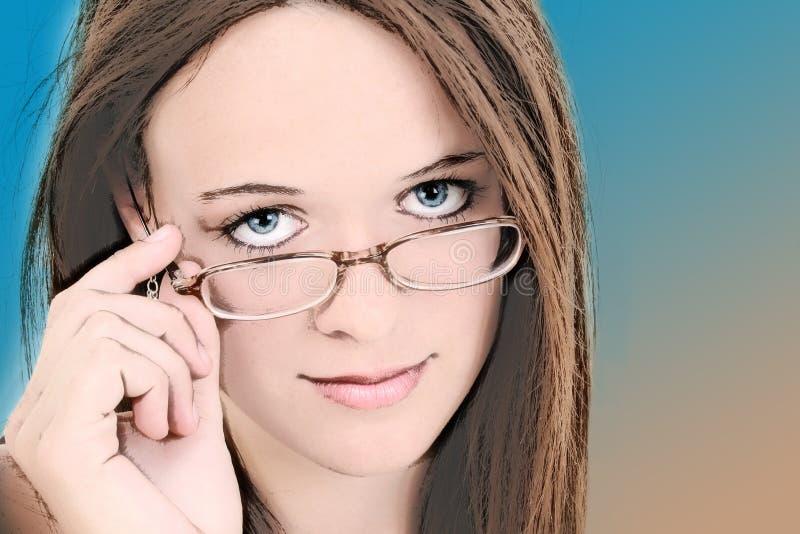 Ilustración de catorce años en lentes de la muchacha stock de ilustración