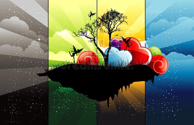 Ilustración de color abstracta del árbol stock de ilustración