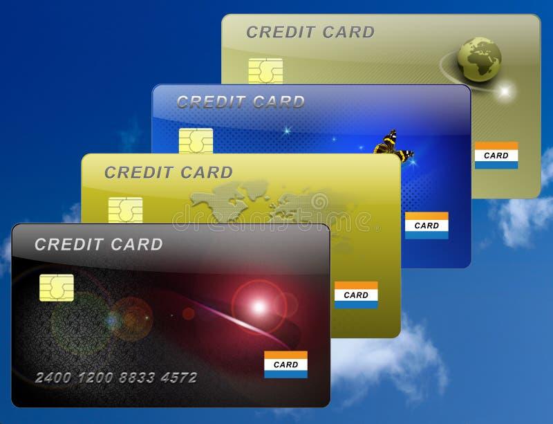 Ilustración de cuatro tarjetas de crédito libre illustration