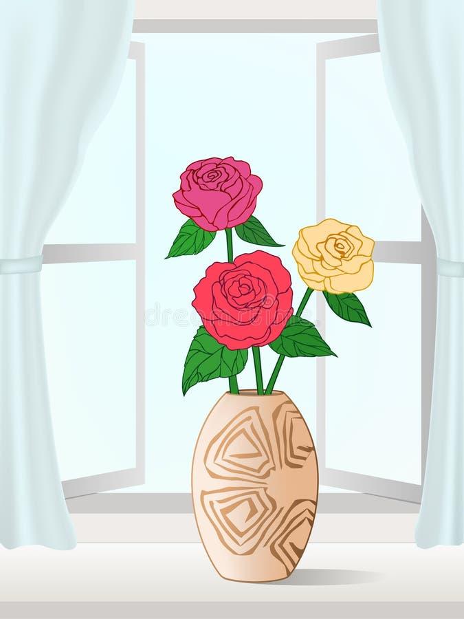Ilustración de flores por la ventana ilustración del vector
