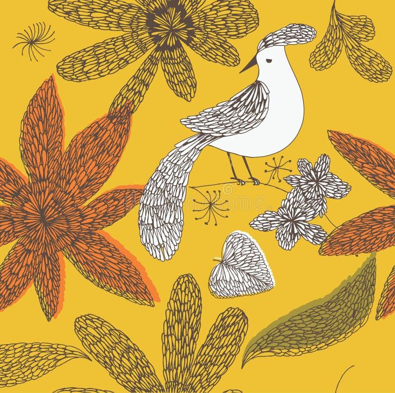 Ilustración de flores y del pájaro en una ramita libre illustration