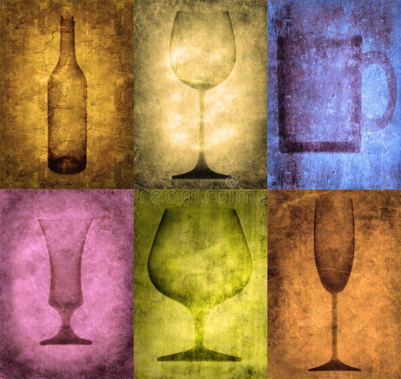 Ilustración de Grunge con la botella y los vidrios stock de ilustración
