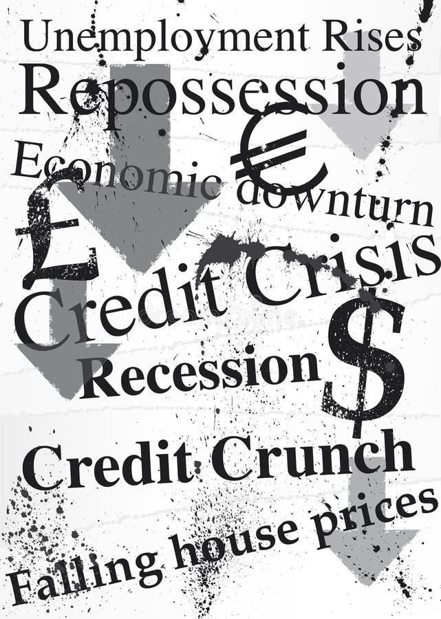 Ilustración de Grunge en tema de la recesión stock de ilustración