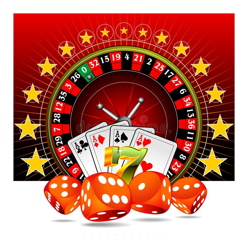 Ilustración de juego con los elementos del casino stock de ilustración