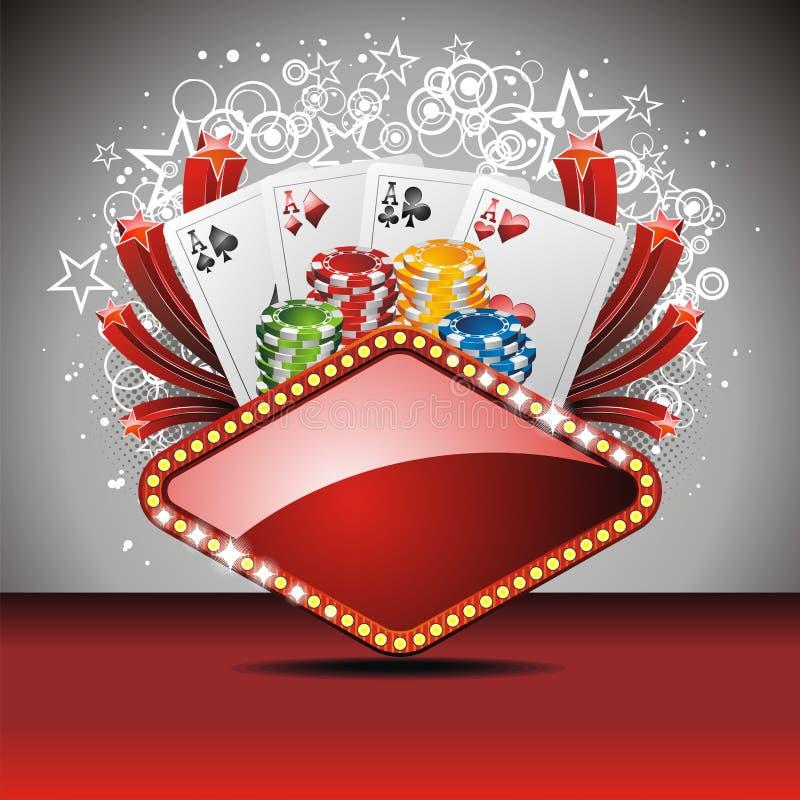 Ilustración de juego del vector con los elementos del casino stock de ilustración