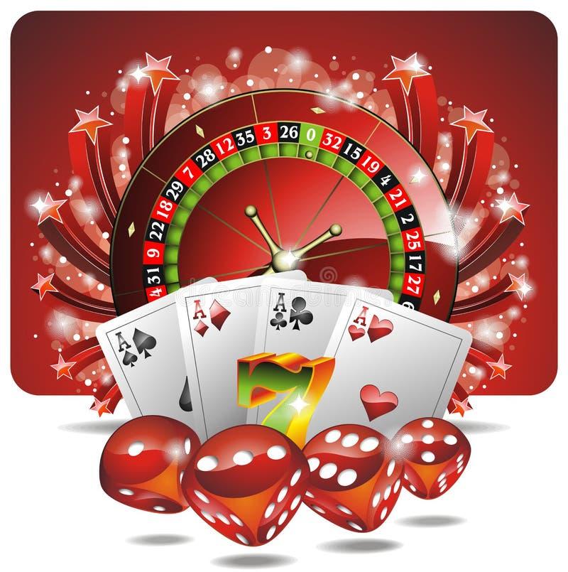Ilustración de juego del vector con los elementos del casino ilustración del vector