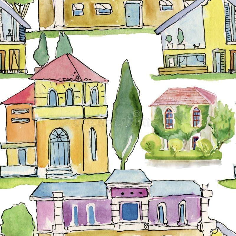 Ilustración de la acuarela Casas y árboles Backround inconsútil stock de ilustración