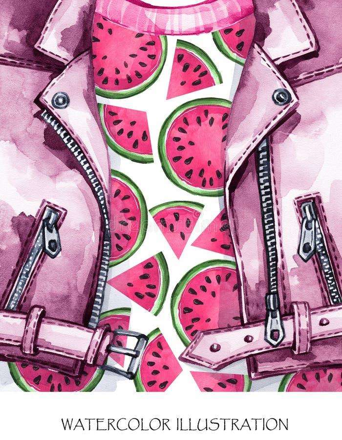 Ilustración de la acuarela Chaqueta de cuero pintada a mano con la sandía fresca Estilo sano libre illustration