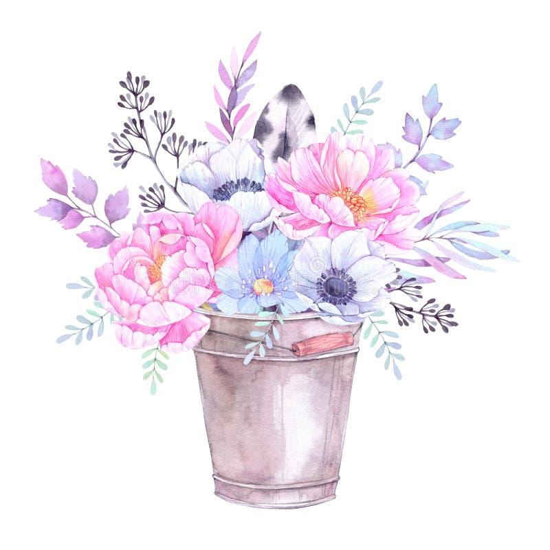 Ilustración de la acuarela Cubo con los elementos florales Wi del ramo stock de ilustración