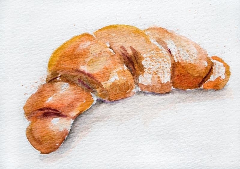 Ilustración de la acuarela del Croissant stock de ilustración