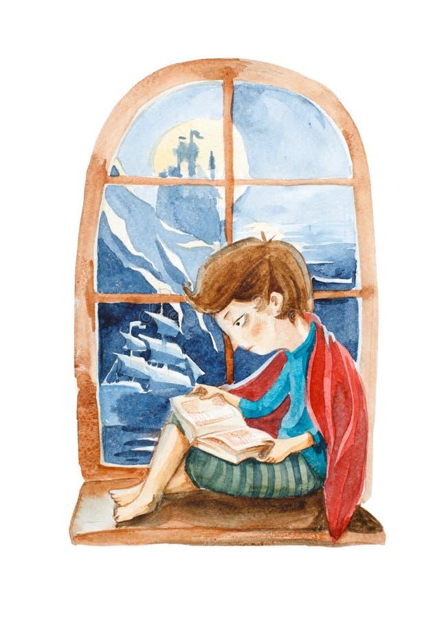 Ilustración de la acuarela El muchacho con el libro que sueña sobre un grande libre illustration