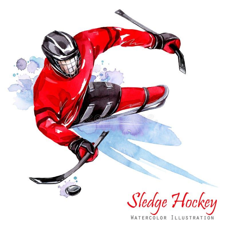 Ilustración de la acuarela Hockey del trineo Deportes de la nieve de la incapacidad Figura del atleta discapacitado en el hielo c ilustración del vector