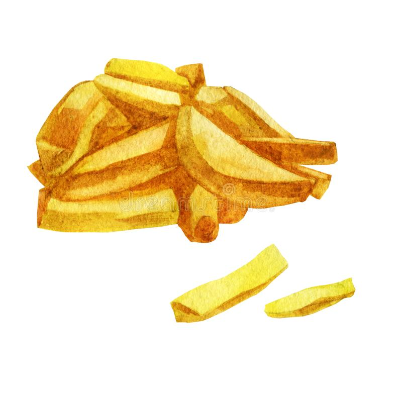 Ilustración de la acuarela Patatas para la cerveza, patatas fritas ilustración del vector