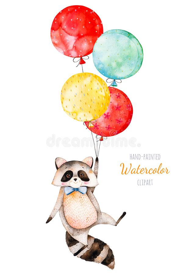 Ilustración de la acuarela Pequeño mapache lindo con los globos multicolores ilustración del vector