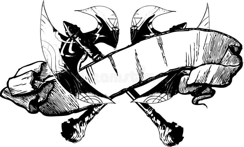 Ilustración de la bandera del hacha de la batalla stock de ilustración