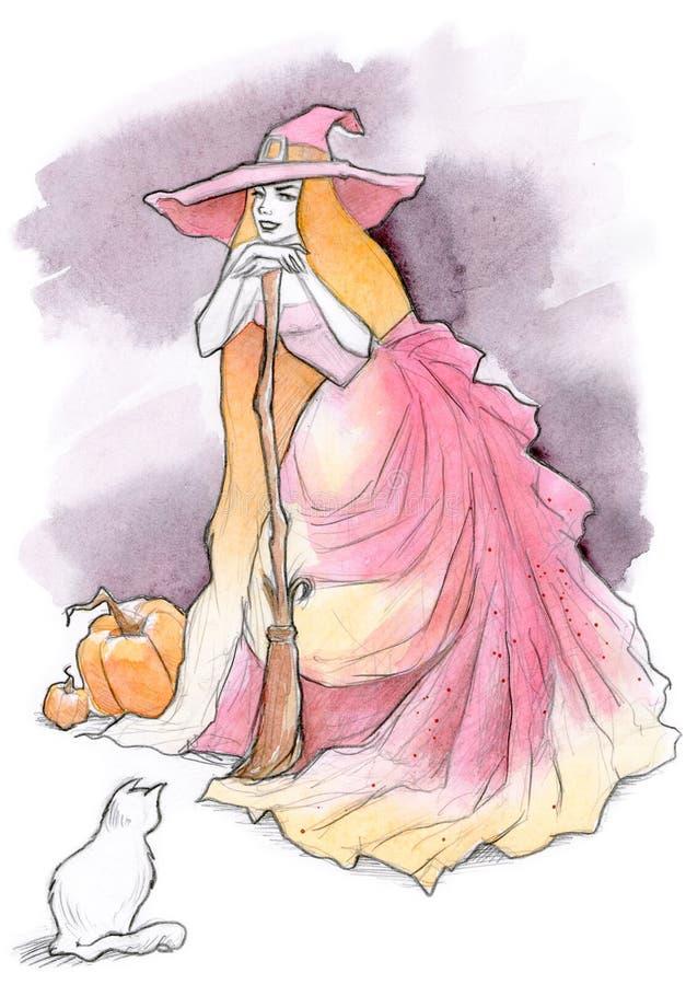 Ilustración de la bruja de Víspera de Todos los Santos ilustración del vector