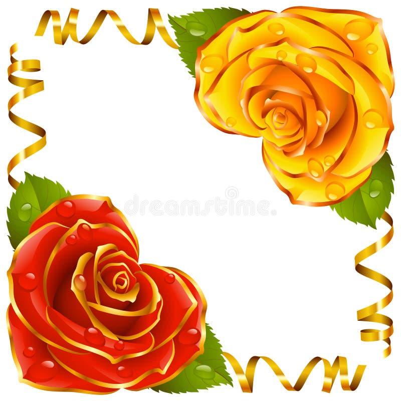 Ilustración de la esquina del vector Rose roja y amarilla y cintas de oro libre illustration