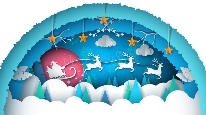 Ilustración de la Feliz Navidad Paisaje de papel de la historieta stock de ilustración