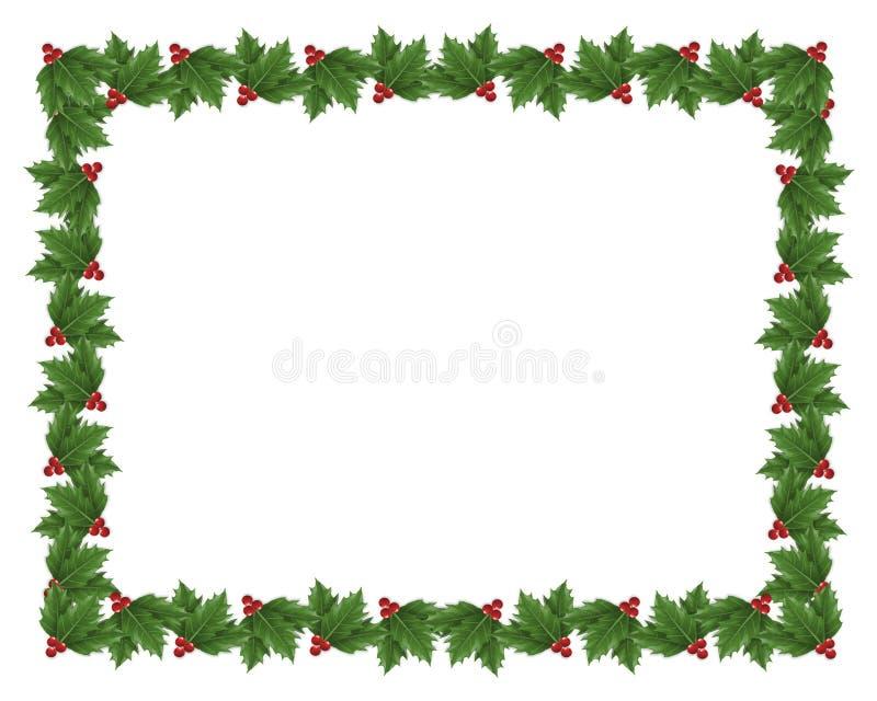 Ilustración de la frontera del acebo de la Navidad stock de ilustración