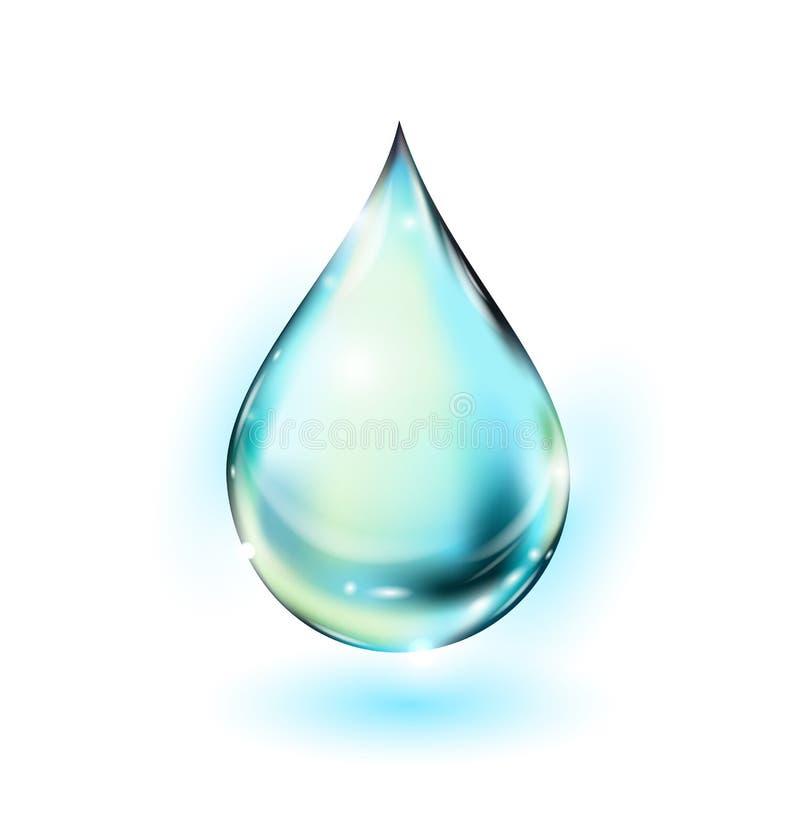 Ilustración de la gota del agua Descenso del agua potable en blanco Gota descendente del agua Vector stock de ilustración