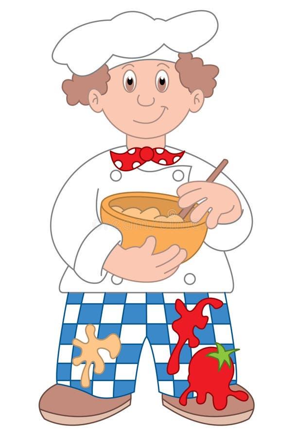 Ilustración de la historieta del cocinero ilustración del vector