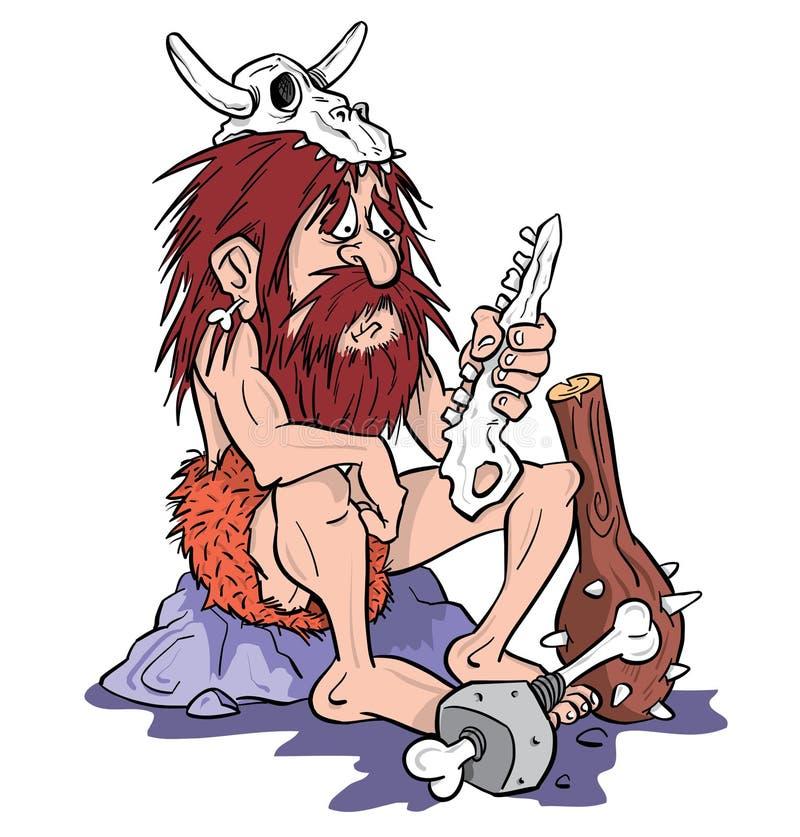 Ilustración de la historieta del hombre de las cavernas stock de ilustración