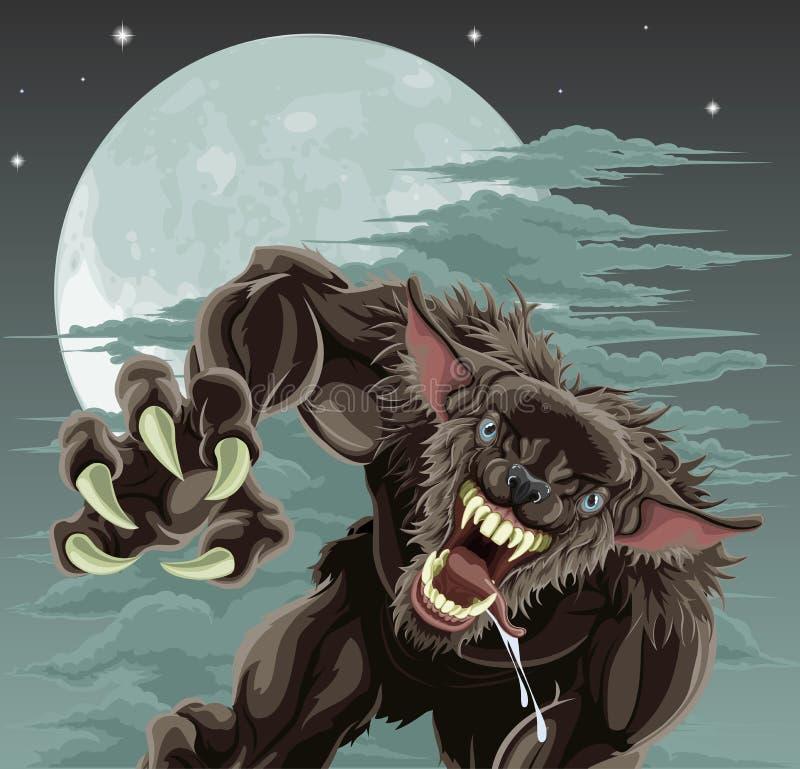 Ilustración de la luna del hombre lobo stock de ilustración