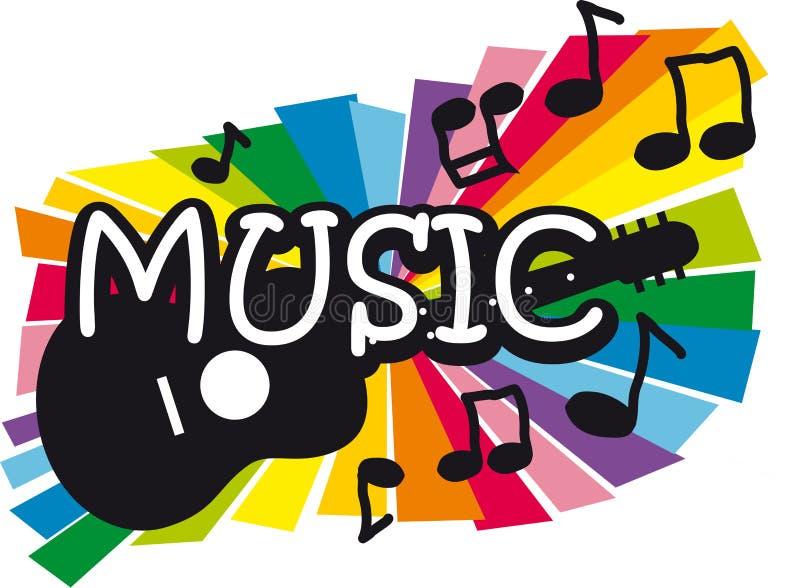 Ilustración de la música y de la guitarra stock de ilustración