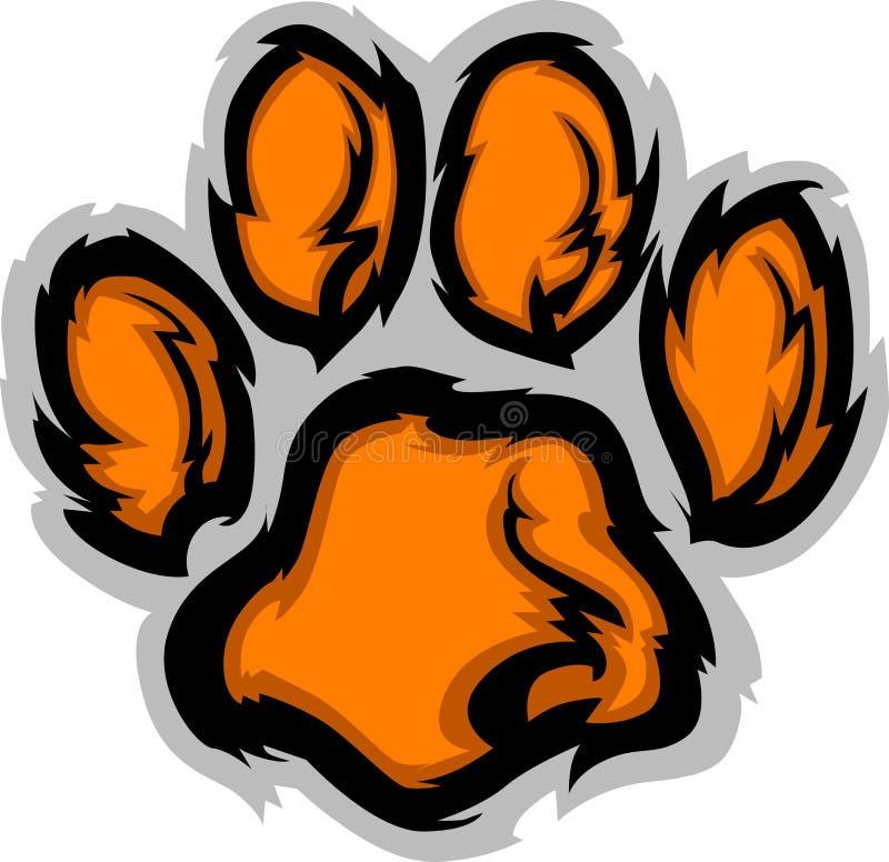 Ilustración de la mascota de la pata del tigre stock de ilustración