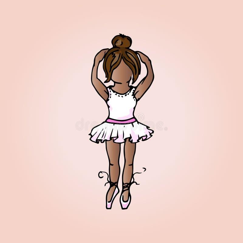 Ilustración de la muchacha linda Ilustración del ballet dancer Estudiante el vacaciones stock de ilustración