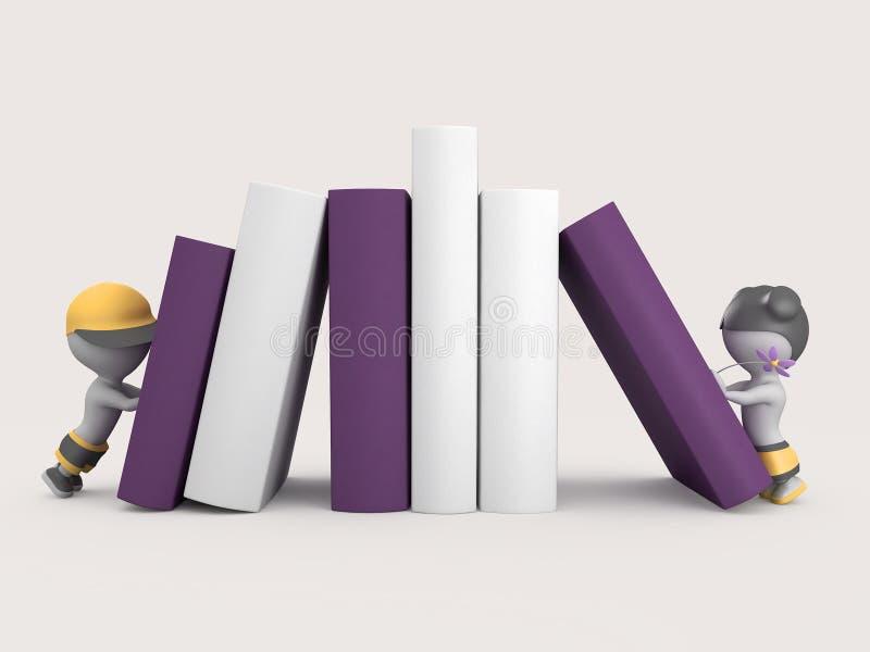 Ilustración de la muchacha y del libro 3D del muchacho foto de archivo libre de regalías